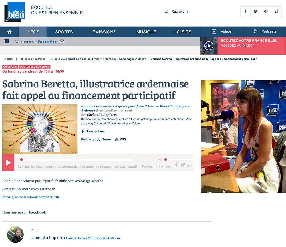 Article de la radio France Bleu concernant la sortie du premier livre de coloriage pour adultes Aux 3 coins du Monde de Art & Be