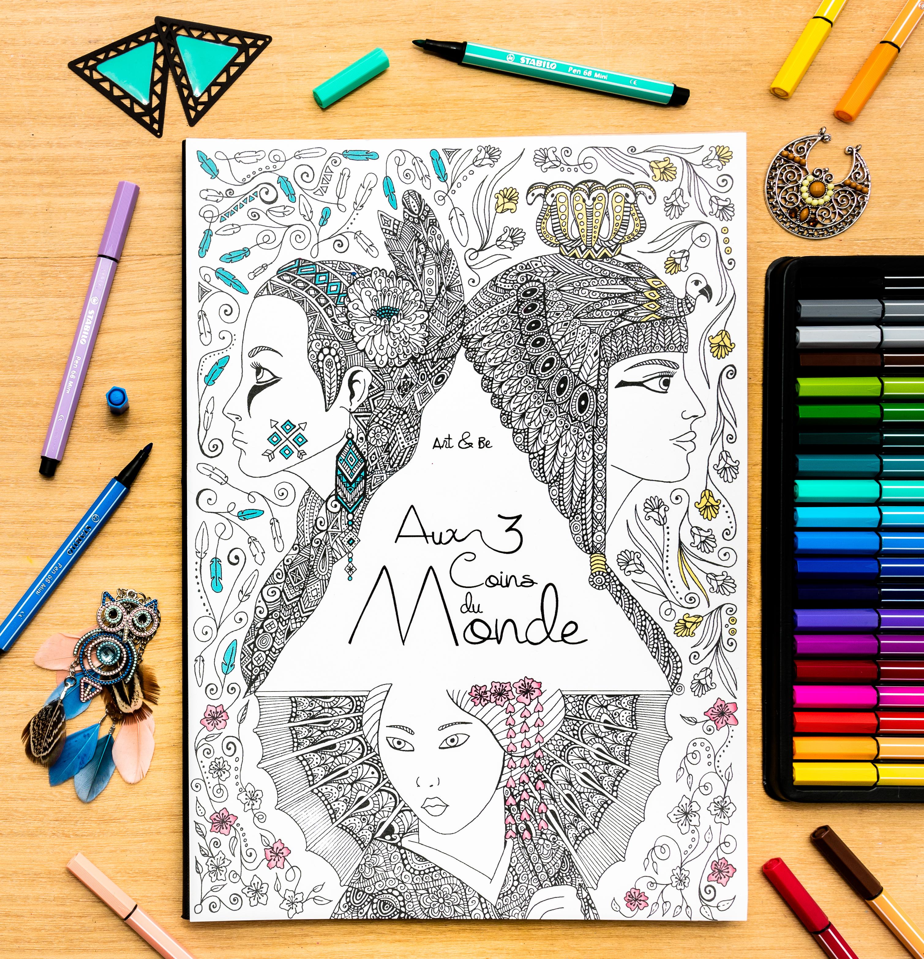 Aux trois coins du Monde, livre de coloriage illustré par Sabrina Beretta alias Art et Be