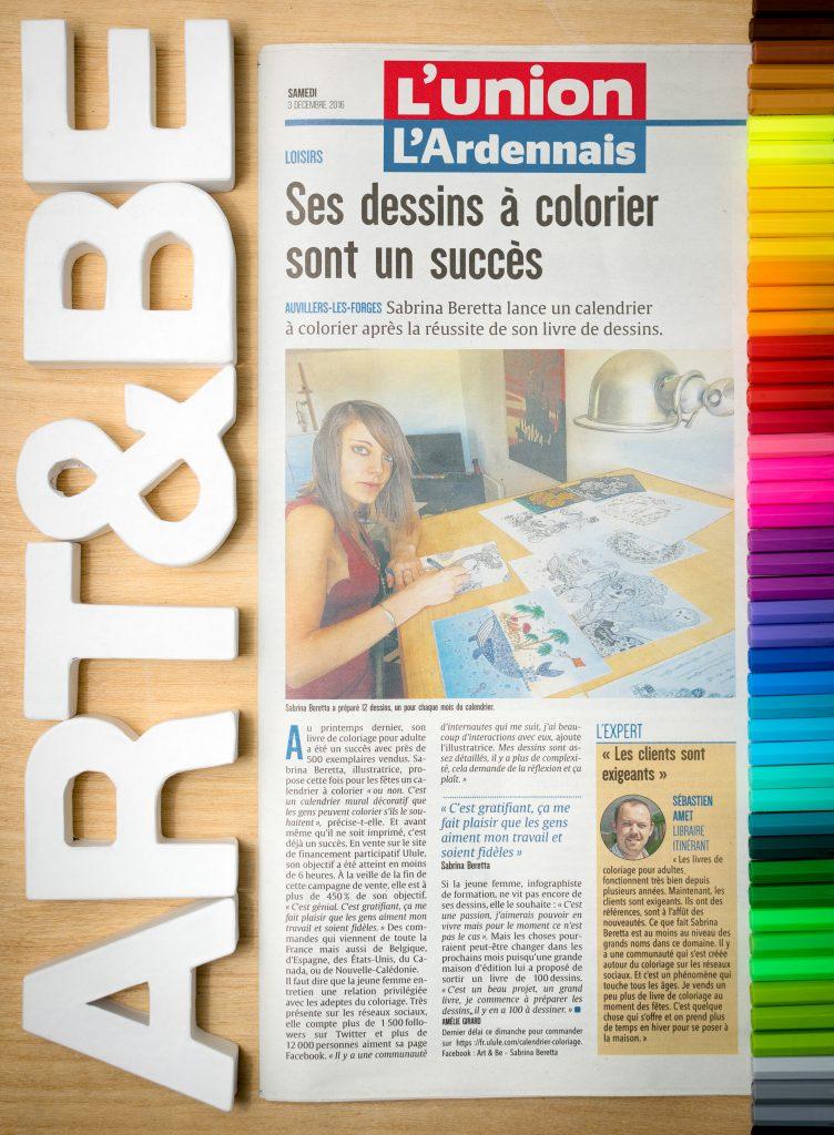 Sabrina Beretta alias Art&Be présente son calendrier à colorier
