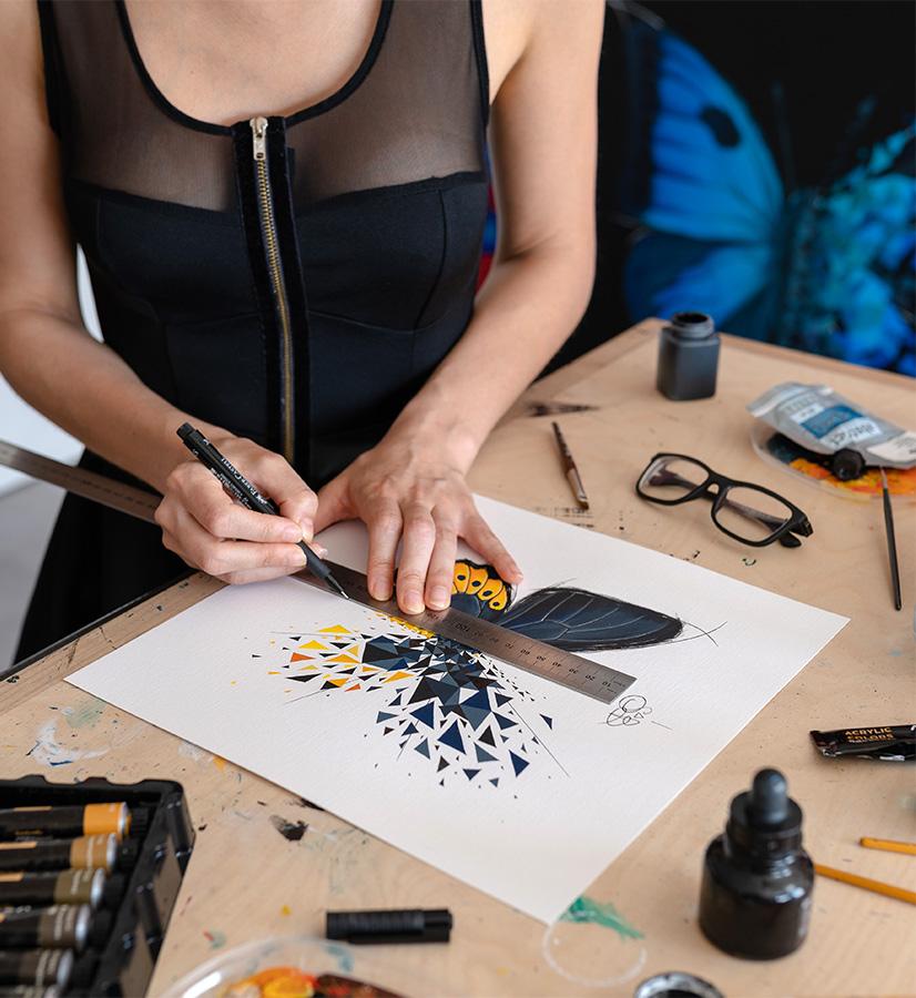 Construction de la déconstruction de l'effet papillon de Sabrina Beretta alias @artetbe