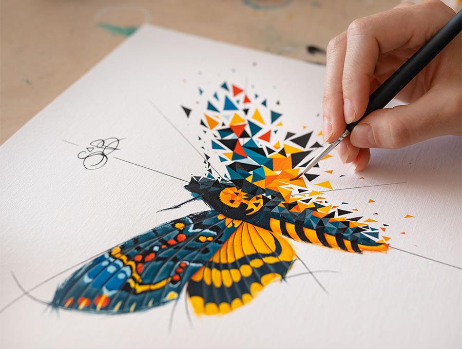 Les papillons colorés de Sabrina Beretta évoquent à travers son style la métamorphose