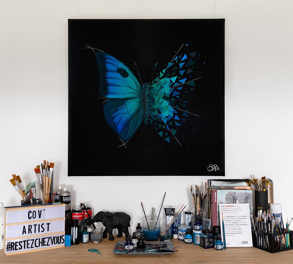 Sabrina Beretta a vendu son effet papillon aux enchères via Drouot online au profit des soignants pour le projet Cov'Artist