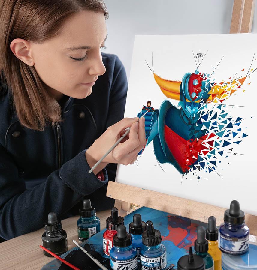 peinture sur papier de Goldorak par l'artiste Sabrina Beretta