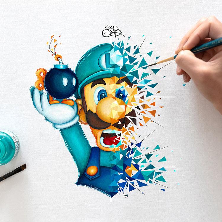 Luigi personnage de Nintendu revisité par l'artiste pop sabrina Beretta