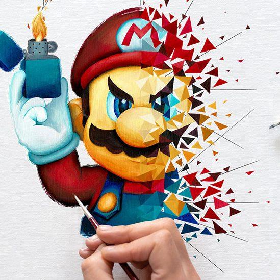 Le super plombier de Nintendo en split art et pop art par Beretta Sabrina