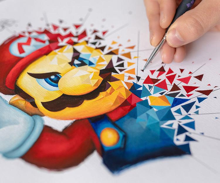 Super Mario explosé sous les pinceaux de Sabrina Beretta