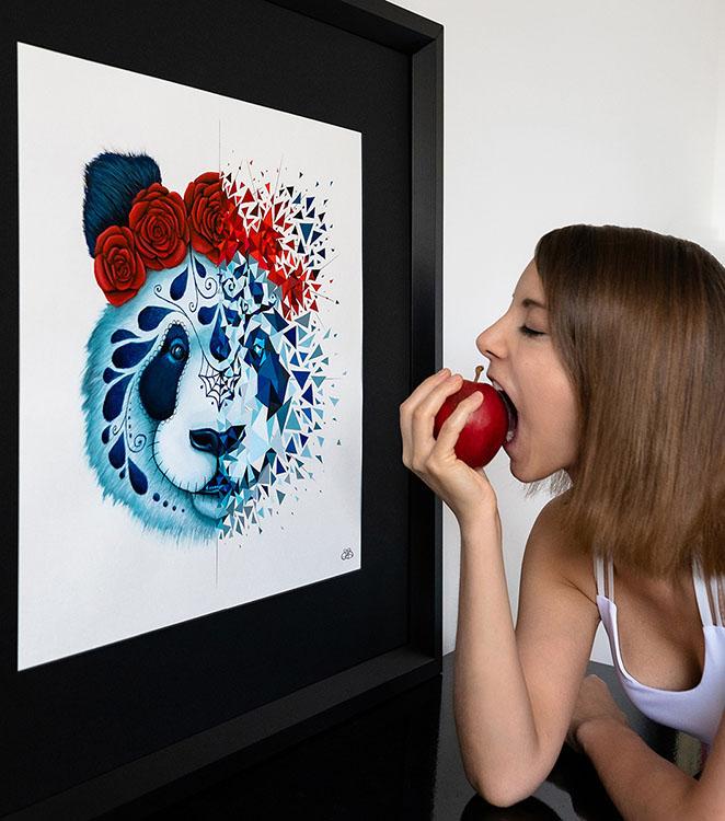 peinture sur papier Panda Muerte encadrée par Sabrina Beretta