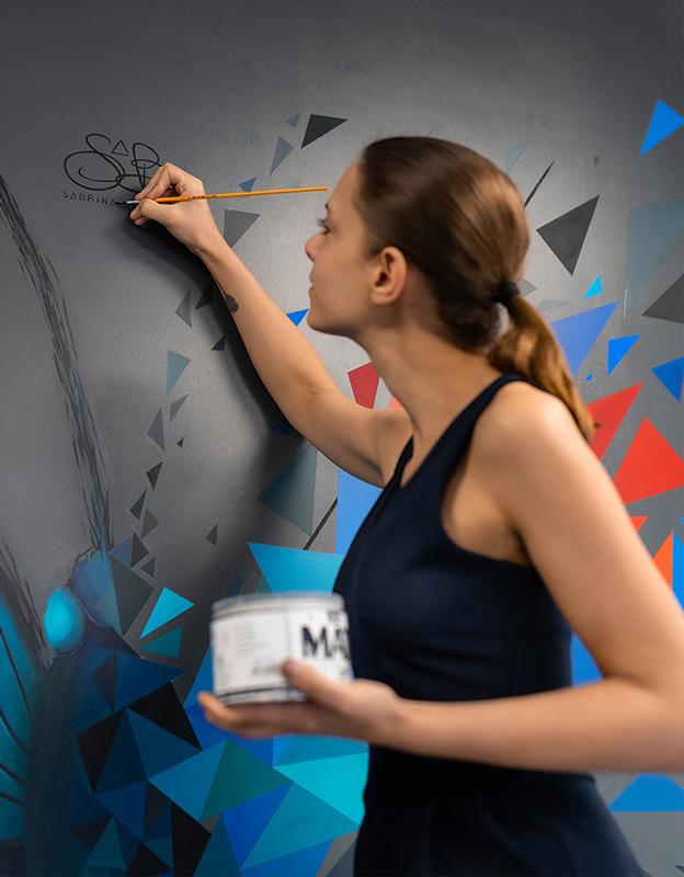 peinture sur mur d'un papillon (butterfly effect) de sabrina beretta