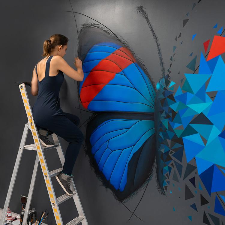 effet papillon sur mur - street art - sabrina beretta