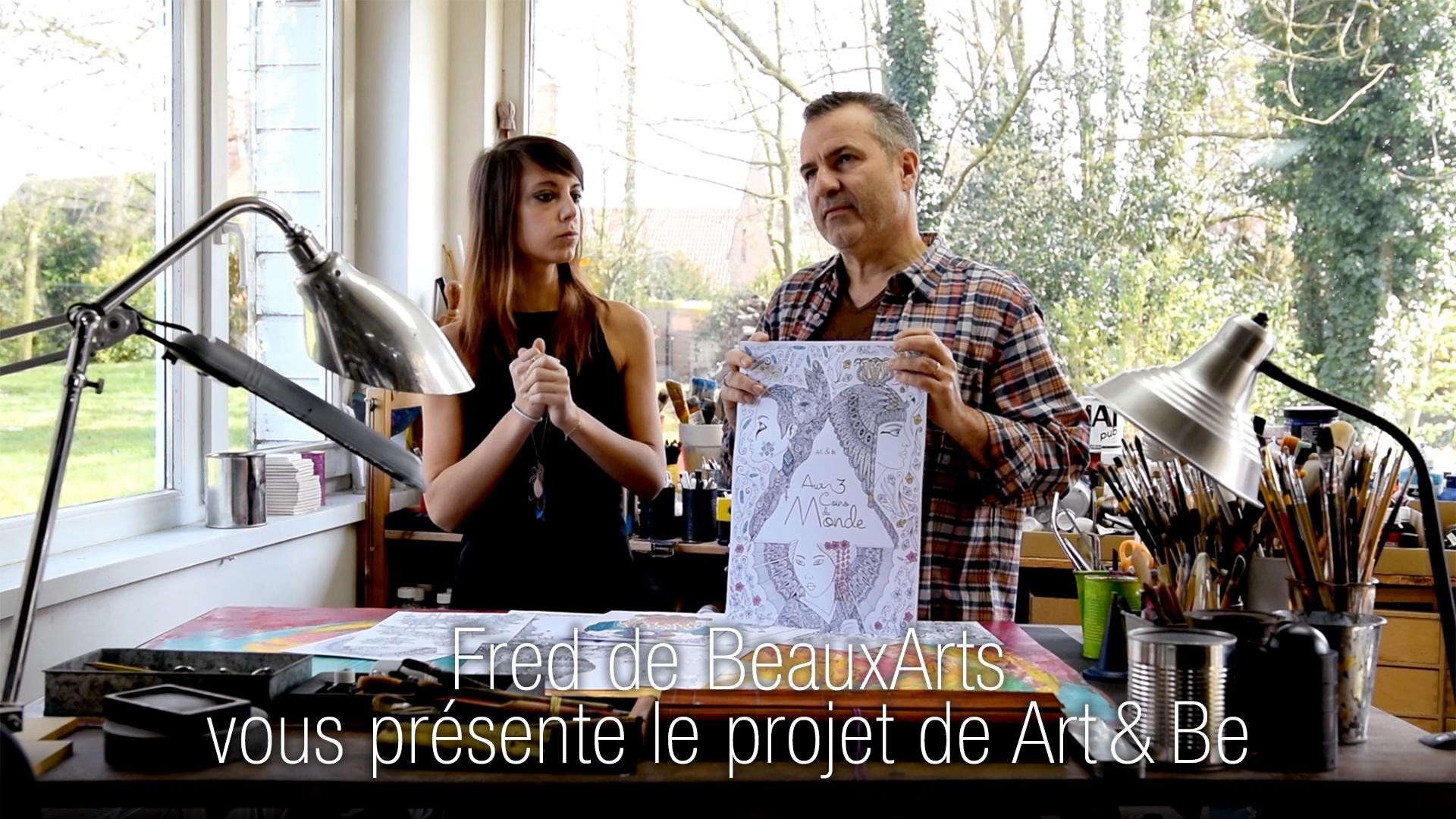 Vidéo présentant le projet de livre de coloriage pour adultes Aux 3 coins du Monde avec Fred de BeauxArts