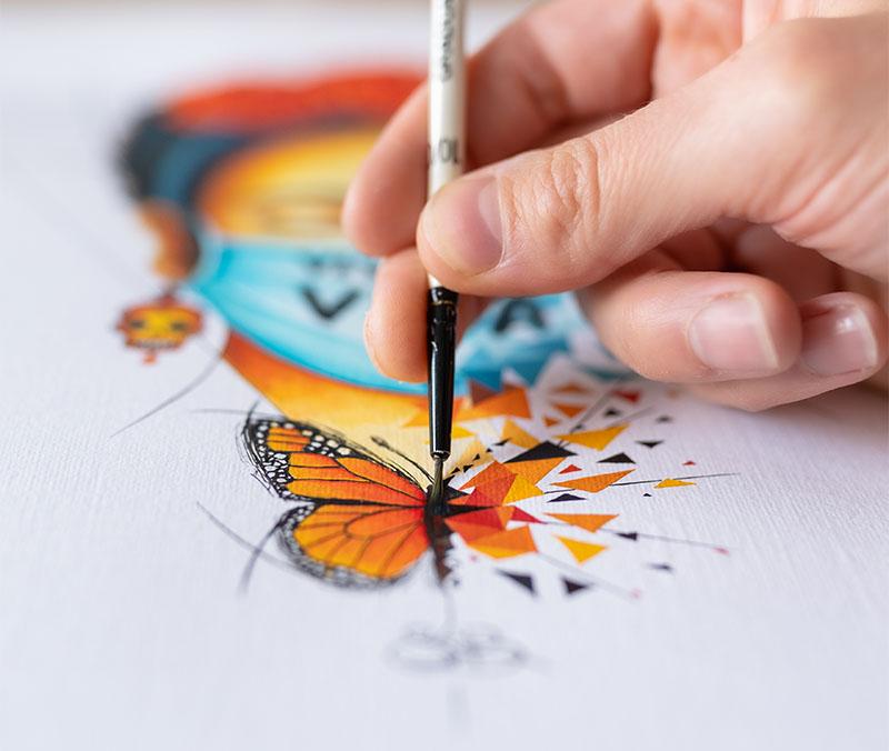 Détail du papillon de l'oeuvre Viva la Vida de Sabrina Beretta