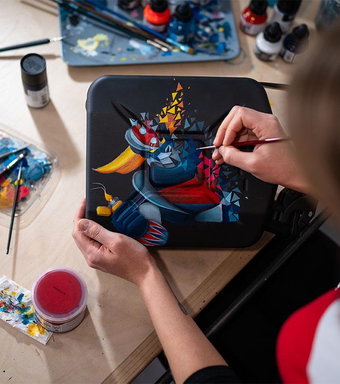 Collaboration Sabrina Beretta et Vincent Duchêne - Goldorak peinture et sculpture