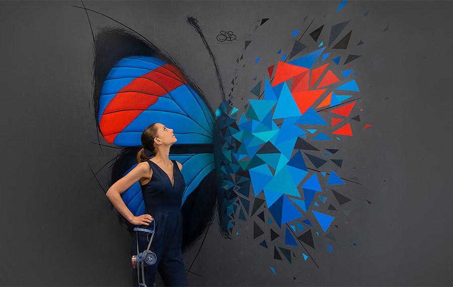 Fresque de Sabrina Beretta, Papillon Axa Rethel