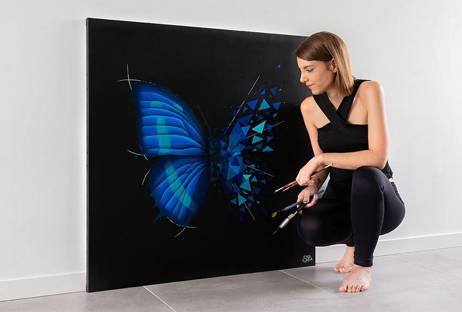 butterfly effect oeuvre signature de Sabrina beretta sur toile de lin
