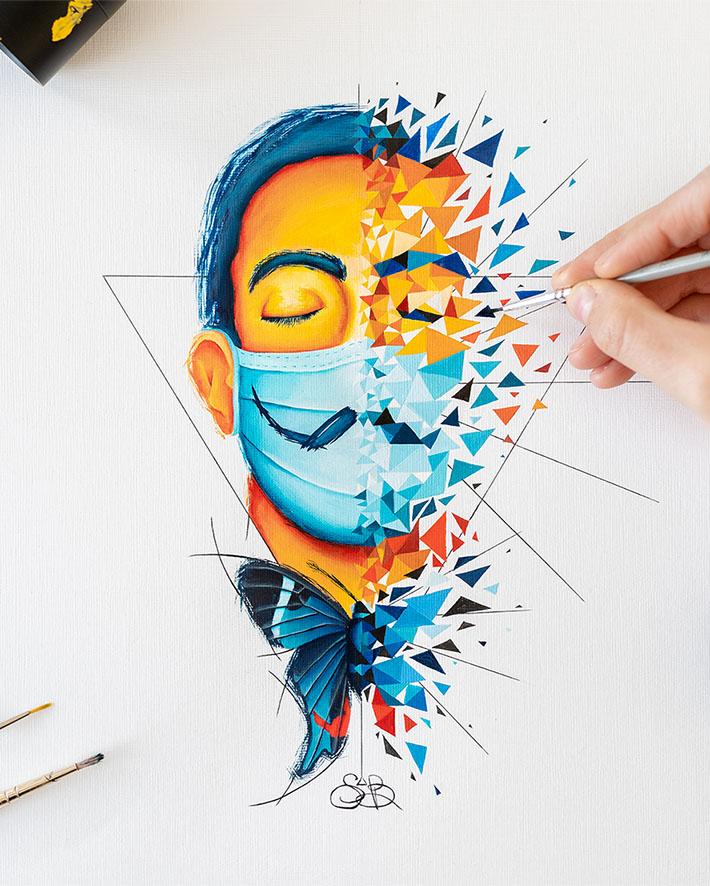 Salvador Dali masqué en temps de pandémie par Sabrina Beretta