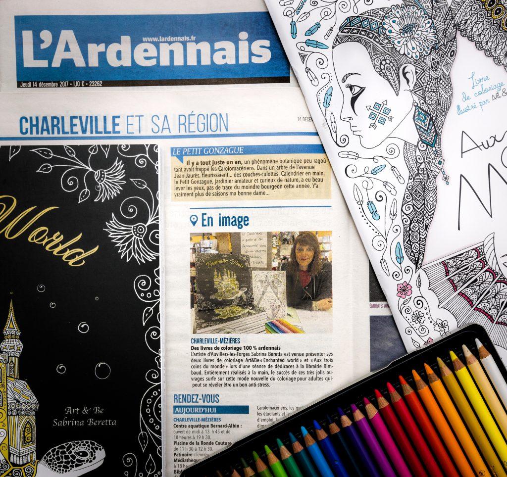 Article du journal l'Union - L'Ardennais - Sabrina Beretta en dédicace à la librairie Rimbaud de Charleville-Mézières