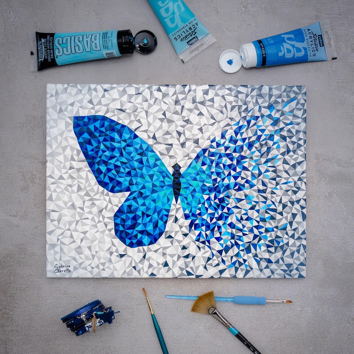 peinture sur toile géométrique abstraite Effet Papillon bleu par Sabrina Beretta