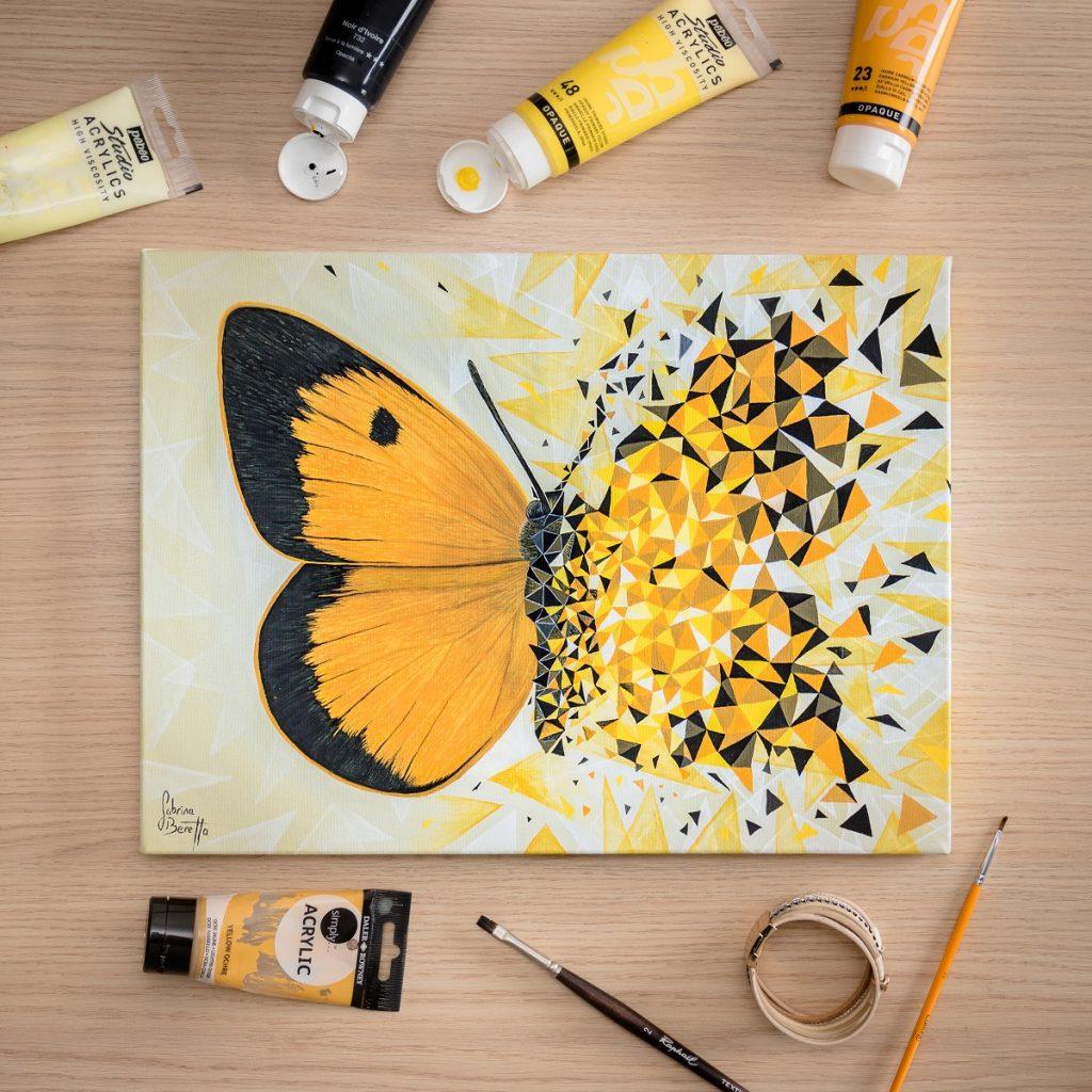 peinture sur toile géométrique figurative et abstraite Effet Papillon jaune par Sabrina Beretta