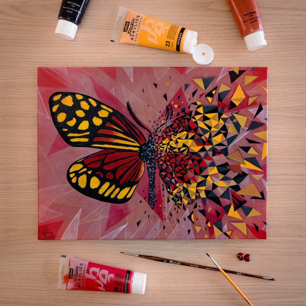 peinture sur toile géométrique figurative et abstraite Effet Papillon rouge par Sabrina Beretta
