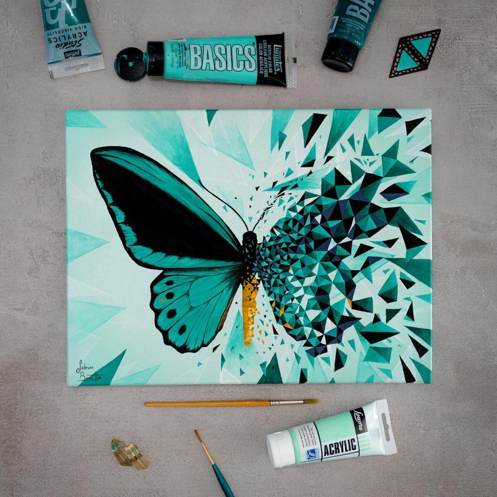 peinture sur toile géométrique figurative et abstraite Effet Papillon vert par Sabrina Beretta