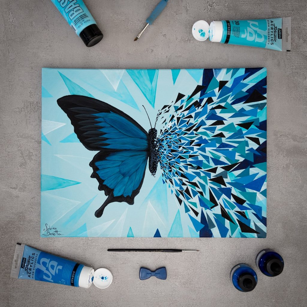 Sabrina Beretta - peinture sur toile papillon géométrique moderne bleu