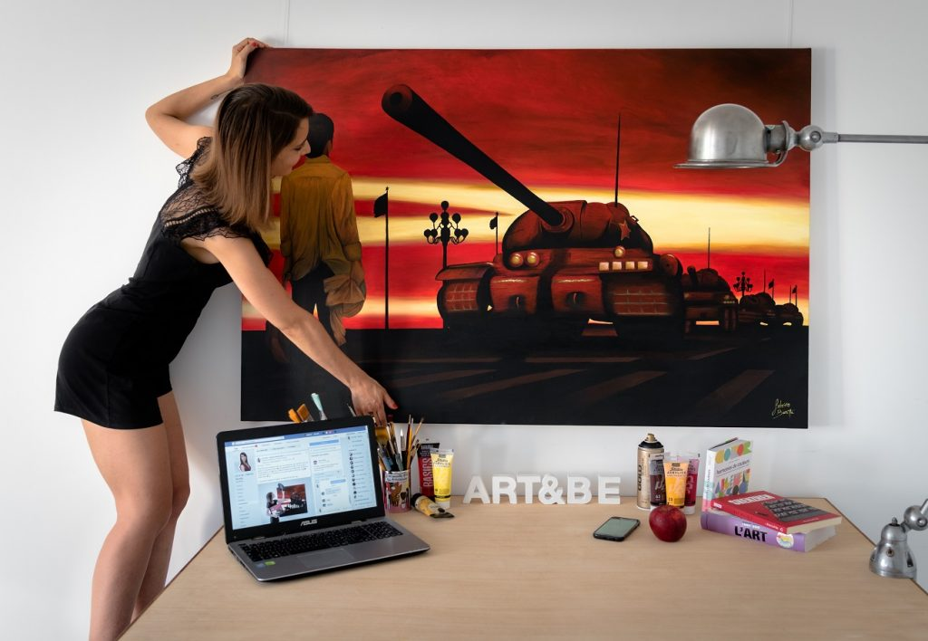 peinture sur toile du manifestant de la place Tien'an men, tankman par Sabrina Beretta