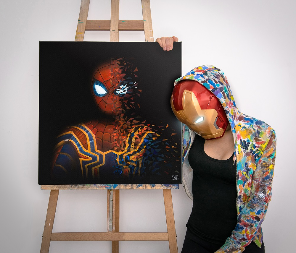"Spider-man se décompose devant Iron-man en prononçant ""I don't feel so good"". Peinture réalisée par Sabrina Beretta"