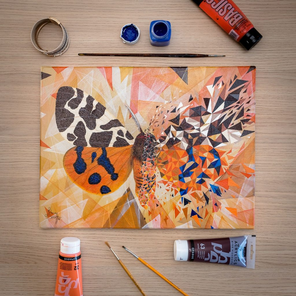 peinture sur toile géométrique figurative et abstraite Effet Papillon orange par Sabrina Beretta
