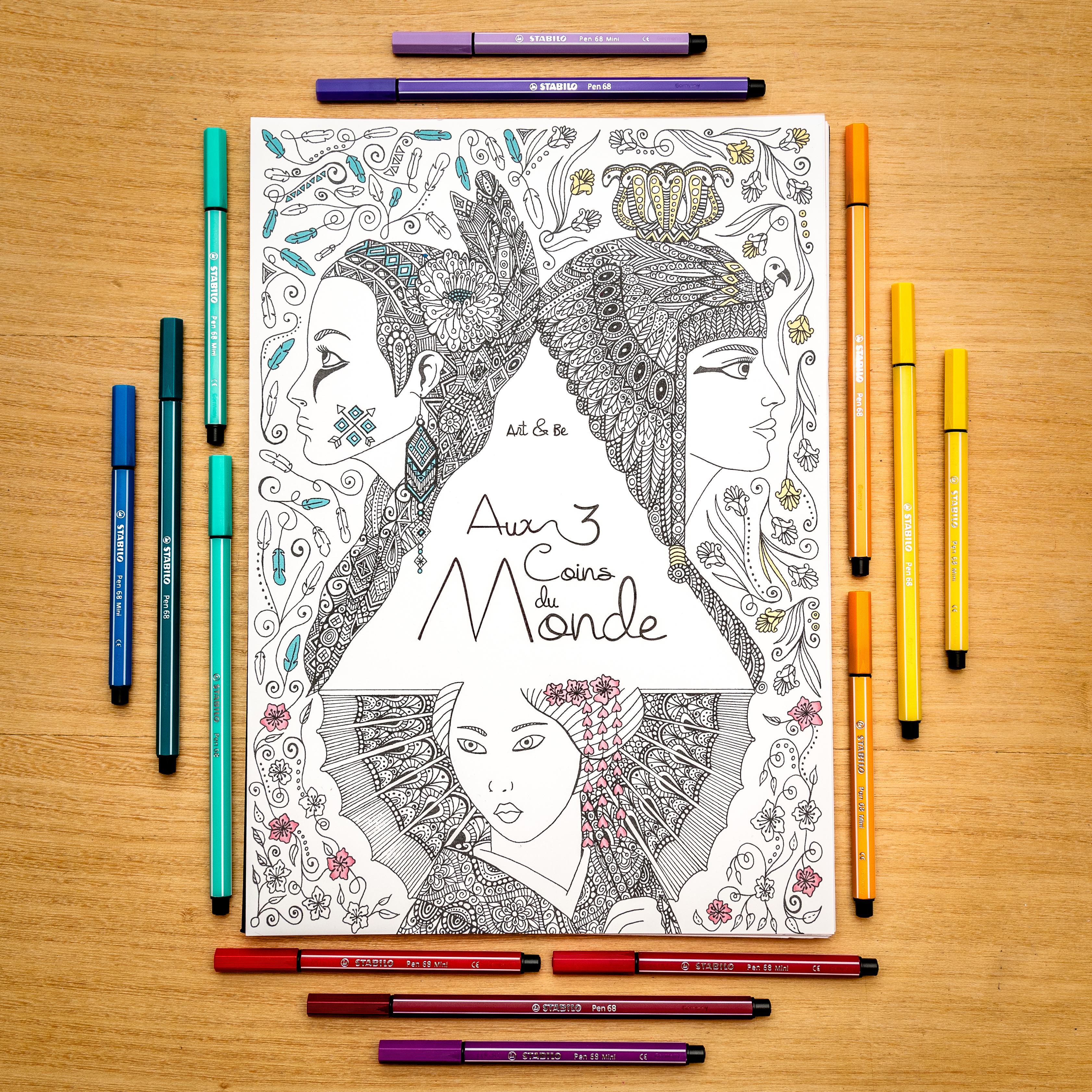 Couverture du livre de coloriage Aux 3 coins du Monde par Art & Be