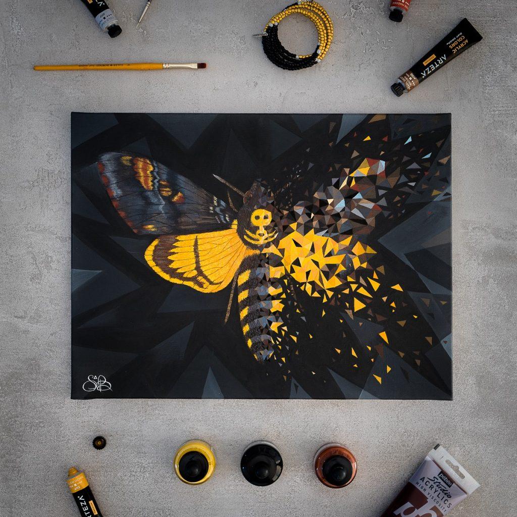 peinture sur toile géométrique figurative et abstraite Effet Papillon noir et jaune par Sabrina Beretta