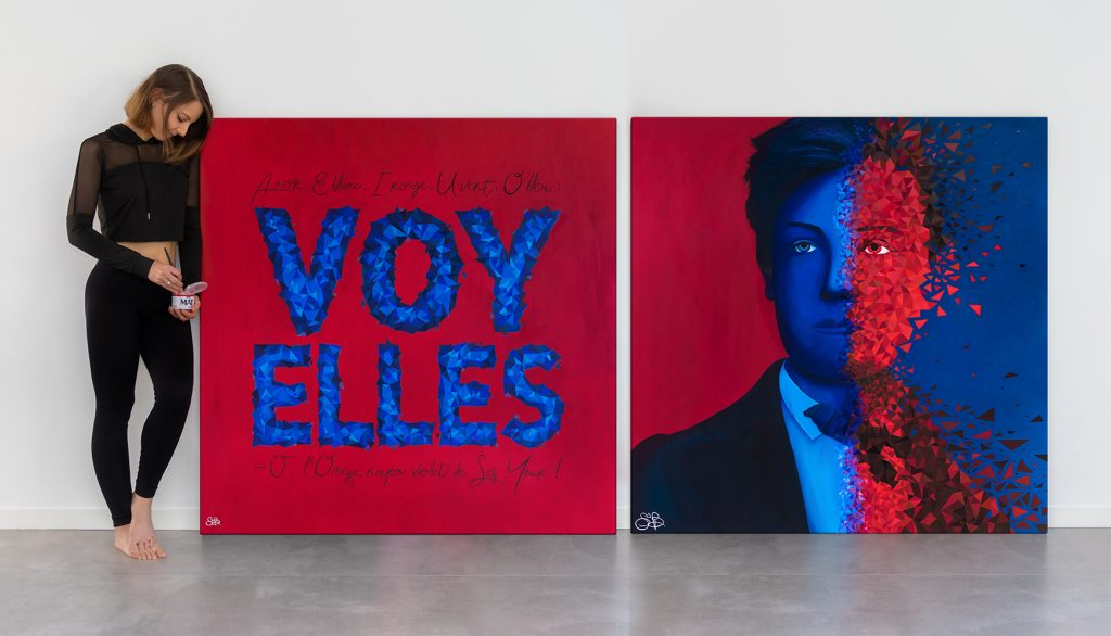 Sabrina Beretta et son diptyque intitulé Voy'elles, représentant Arthur Rimbaud