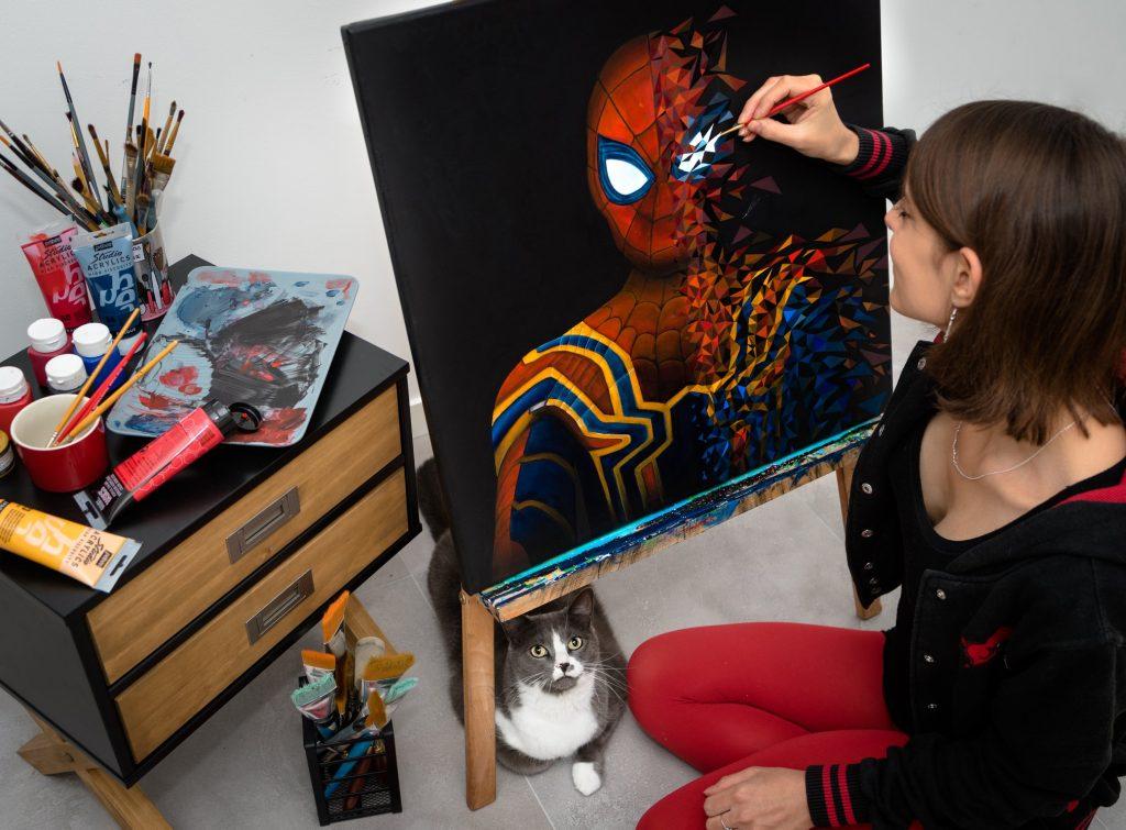 Spiderman sur le point d'être achevé par Sabrina Beretta