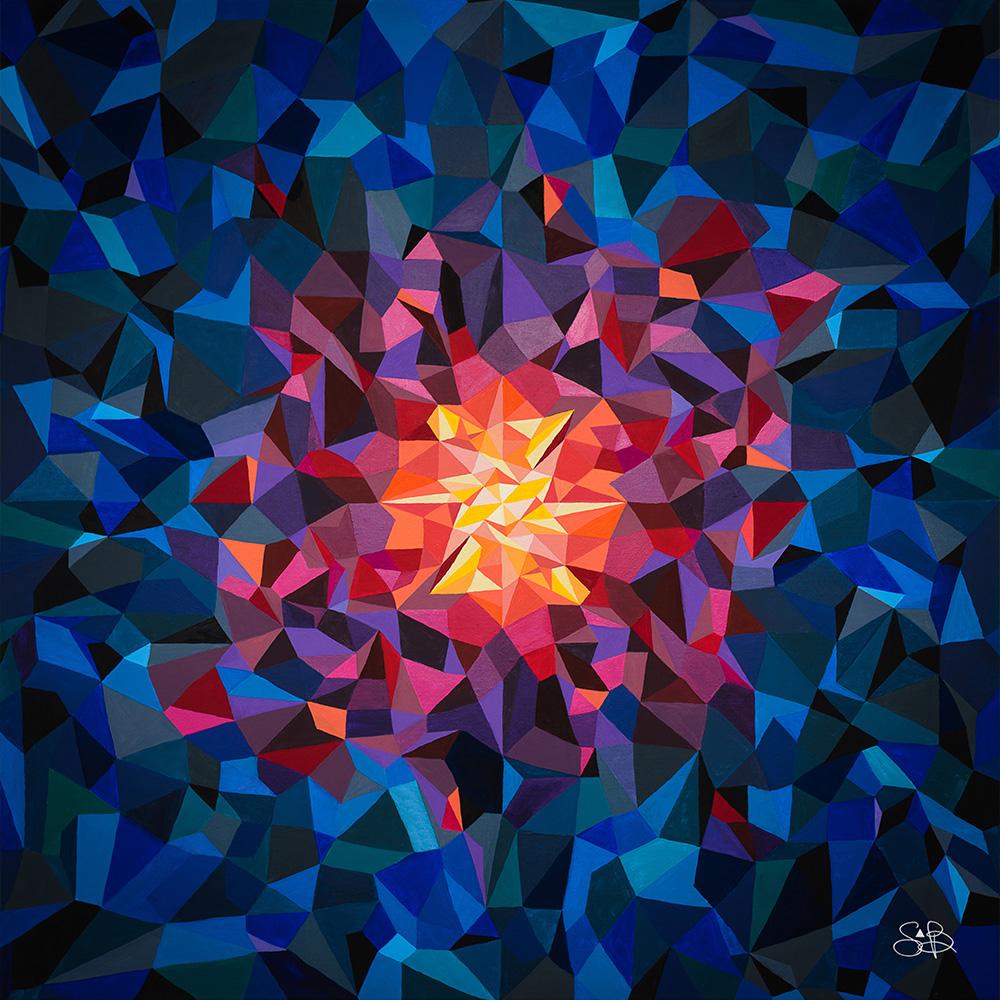 Sabrina Beretta a réalisé à l'acrylique, une toile géométrique et abstraite : Equinoxe