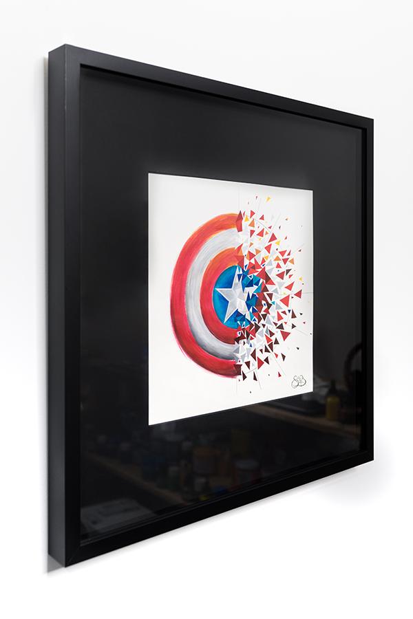Sabrina Beretta a représenté le bouclier de Captain America avec son côté réaliste puis géométrique et explosif