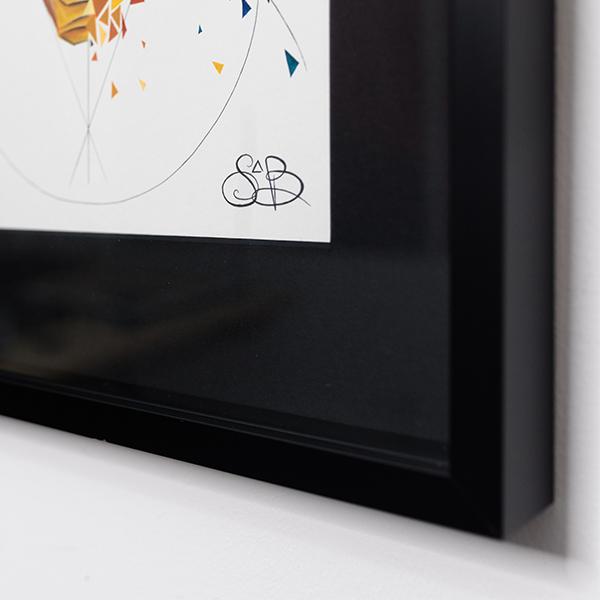Signature de l'oeuvre sur papier encadrée de Sabrina Beretta