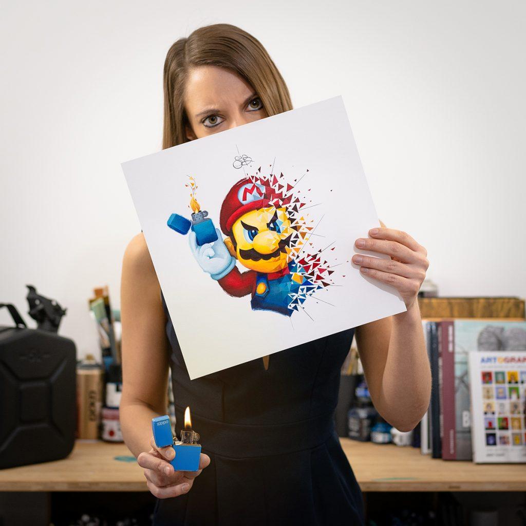 Explosion de Super Mario avec son Zippo, oeuvre originale de l'artiste peintre Sabrina Beretta