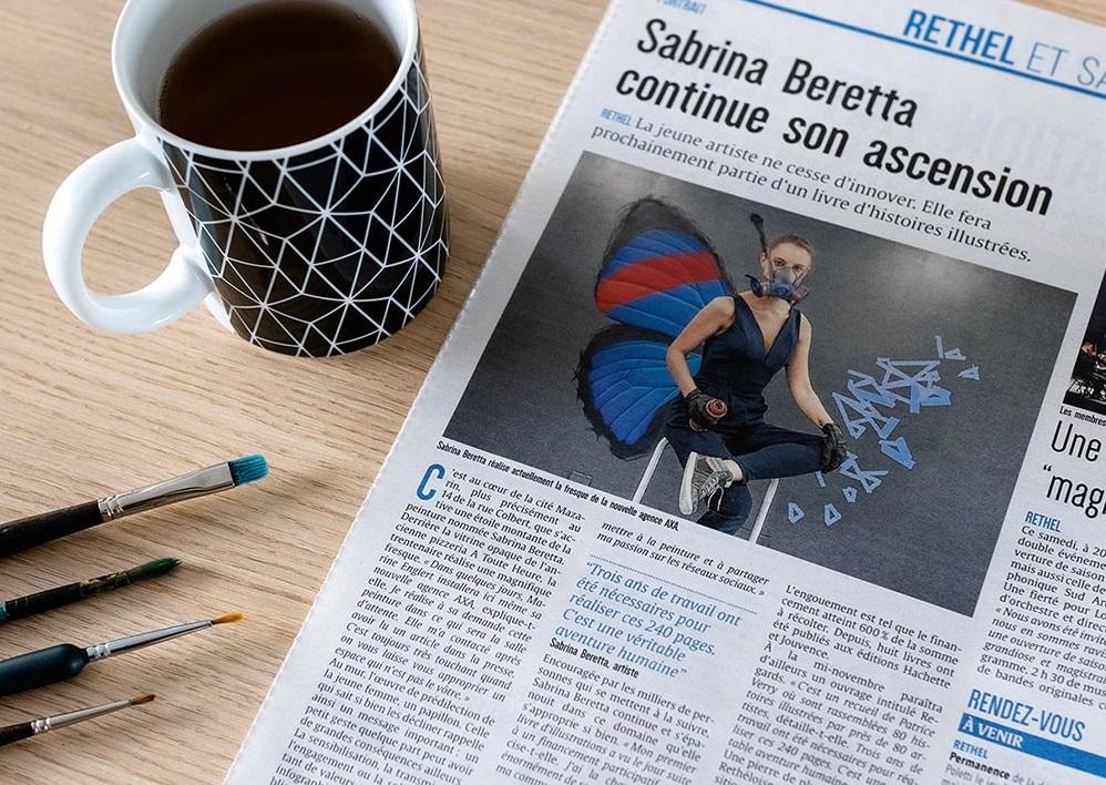 article de presse sur la fresque effet papillon de sabrina chez axa