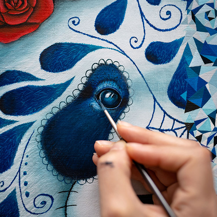 détail oeil panda muerte vs santa muerte par Art&Be Sabrina Beretta