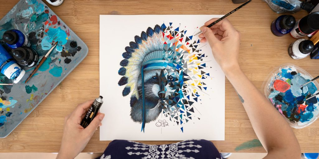 Sabrina Beretta - artetbe - peinture sur papier - raccoon