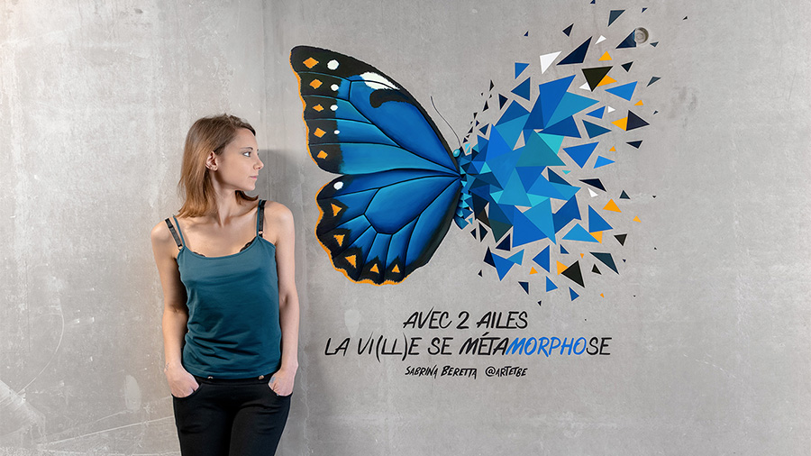Sabrina Beretta et son effet Papillon en Street art au coeur de la ville de Roubaix