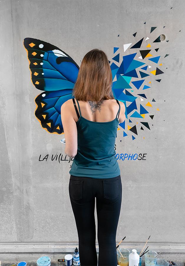 L'effet papillon street art de Sabrina Beretta pour Dép'Art Urbain / festival Expériences urbaines #XU2021